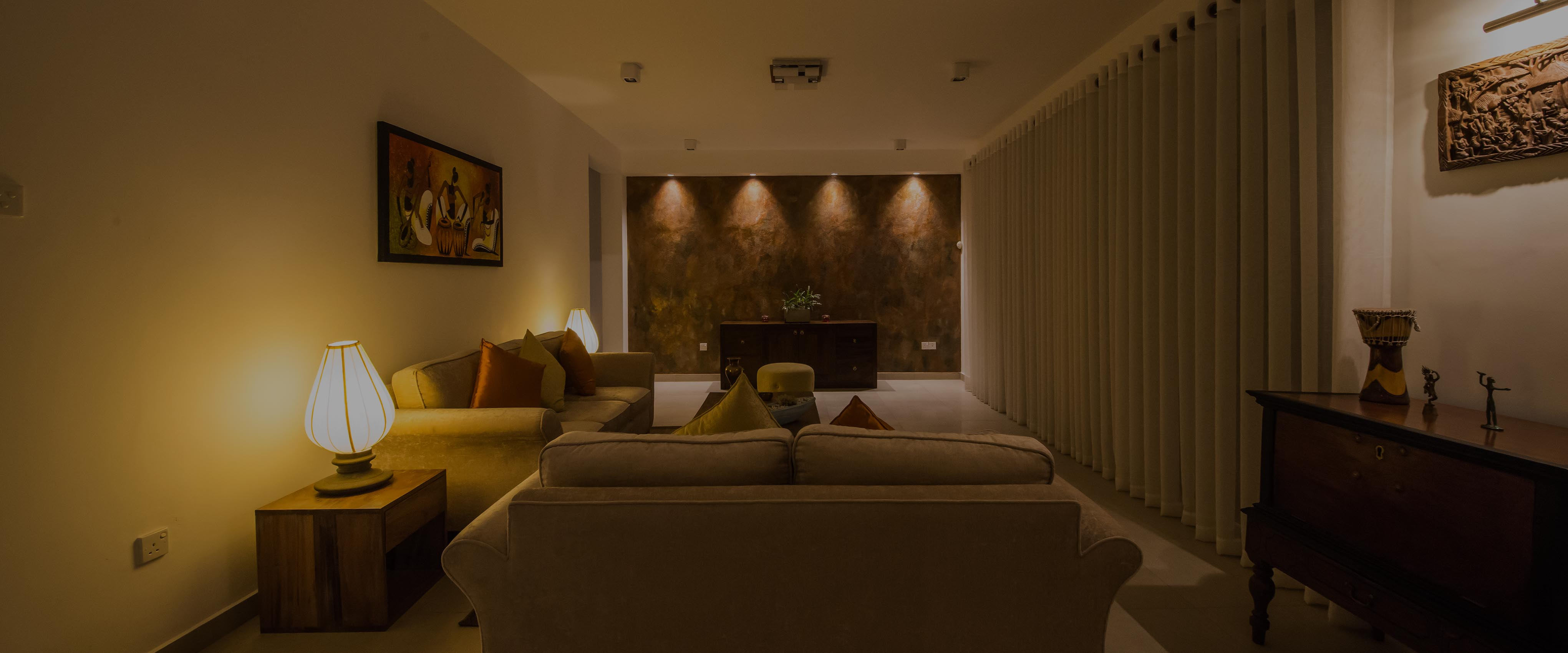 living room with lighting control